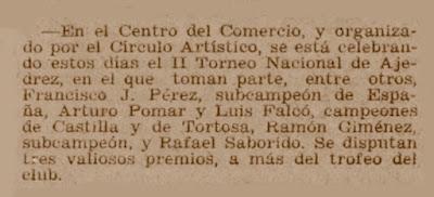 Recorte del Diario de Barcelona sobre el Torneo Nacional de Ajedrez de Tortosa 1950