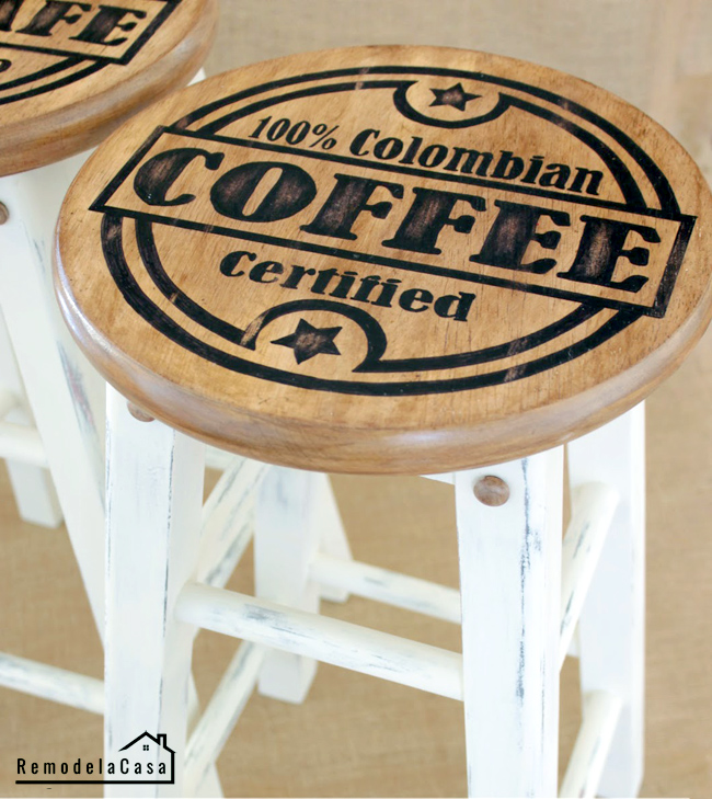 DIY Painted kitchen stools - Free graphics