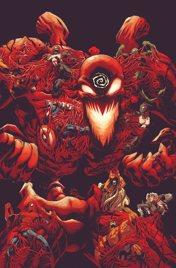 absolute carnage marvel comics cover donny cates ryan stegman grendel klyntar symbiote cletus kasady carnage spider-man venom eddie brock captain america steve rogers the thing ben grimm wolverine logan