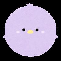 パステルカラーの鳥のイラスト(紫)