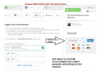 Como colocar o cupom de desconto Curso EMA Estratégia Milionária para Afiliados Gian Garcia Afiliado Foguete