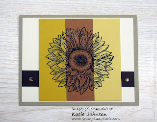 Beautiful tri-color autumn / Fall card with an ombre look using Stampin'Up!'s Celebrate Sunflowers stamp set