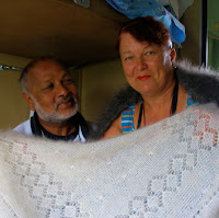 Trans Siberian. Shawl seller and the author at Omsk
