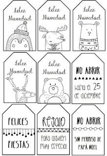 etiquetas, navidad, regalos, imprimir, colorear, papa noel, infantil