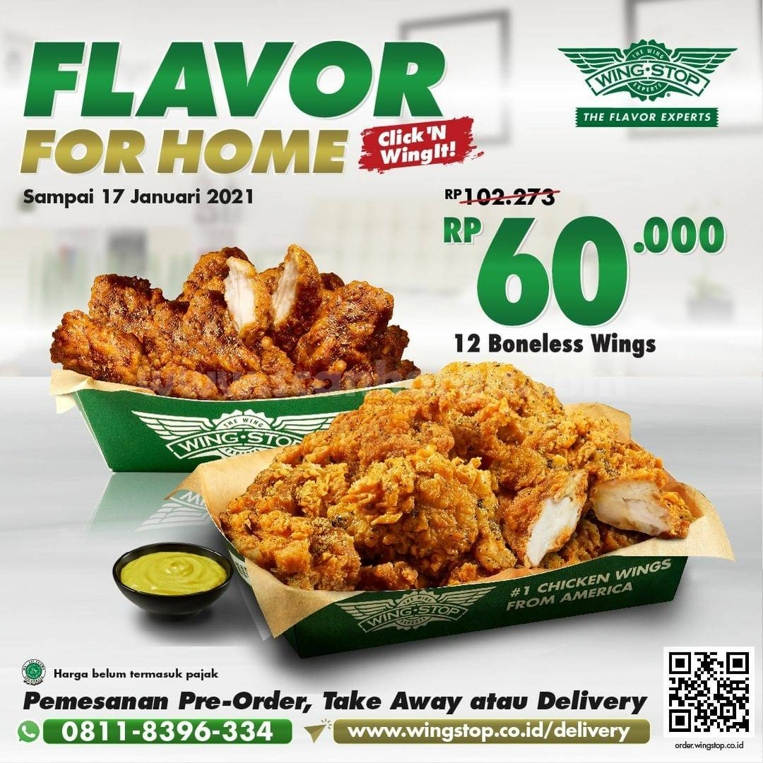 WINGSTOP Flavor For Home! Promo 12 Boneless Wings Harga cuma 60K