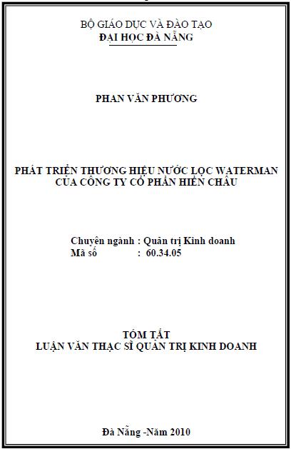 Phát triển thương hiệu nước lọc Waterman của công ty cổ phần Hiền Châu