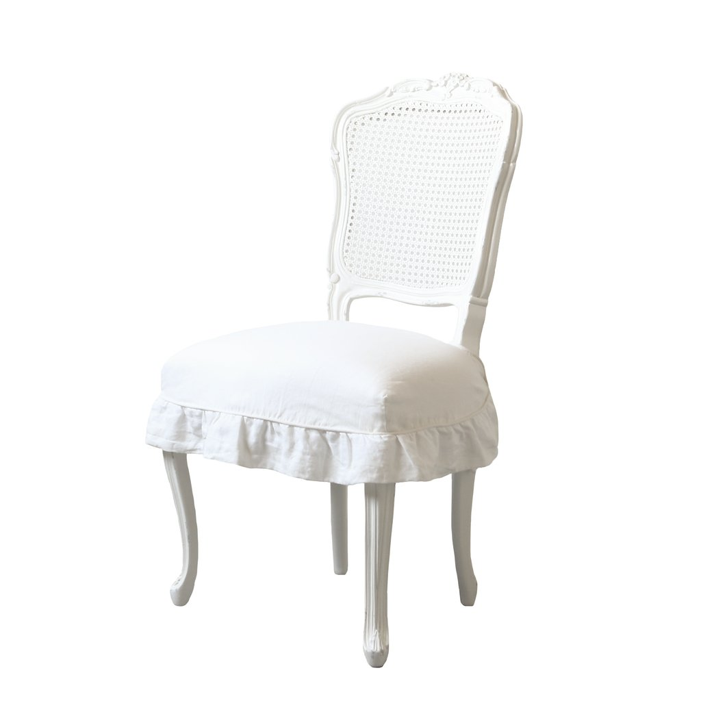 Cane Back Romantic Shabby Dining Chair linenslipcover