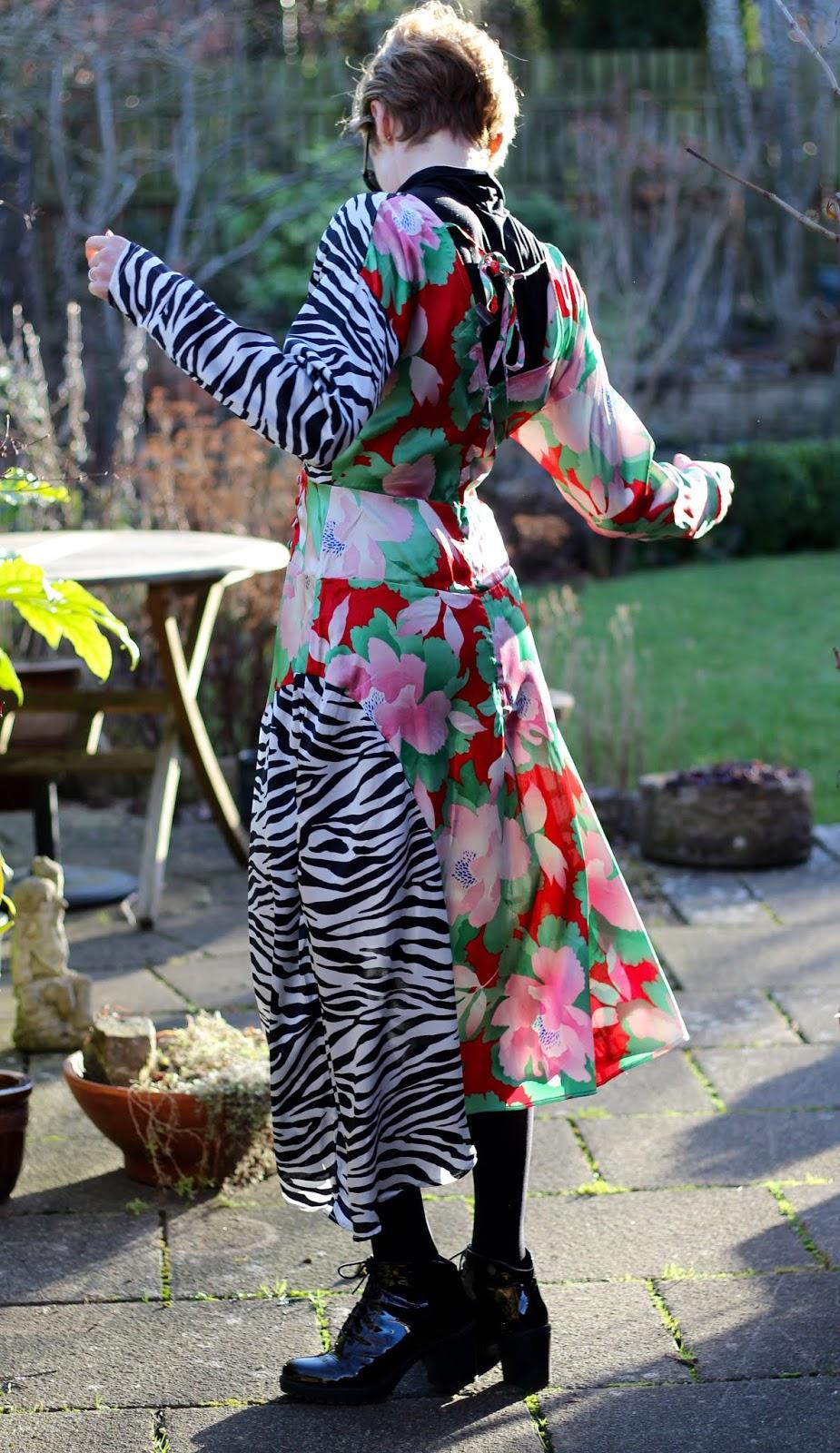 Mixed Floral and Zebra print Satin Dress   Fake Fabulous