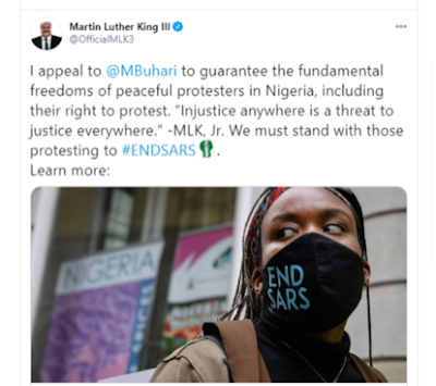 #EndSARS: Injustice anywhere is a threat to justice everywhere – Martin Luther King III