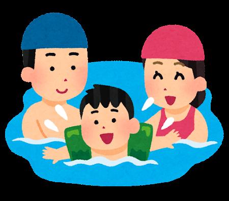 水泳をしている家族のイラスト