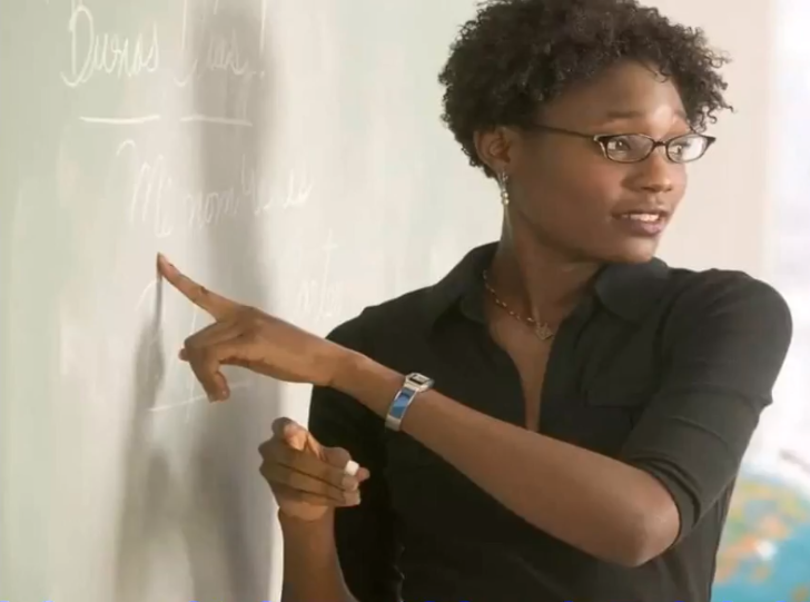 A teacher in class