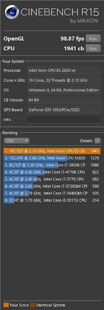 Cinebench Dual Xeon E5-2620v4