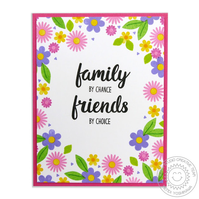 Sunny Studio Stamps: Friends & Family Daisy Flower Border Card by Mendi Yoshikawa