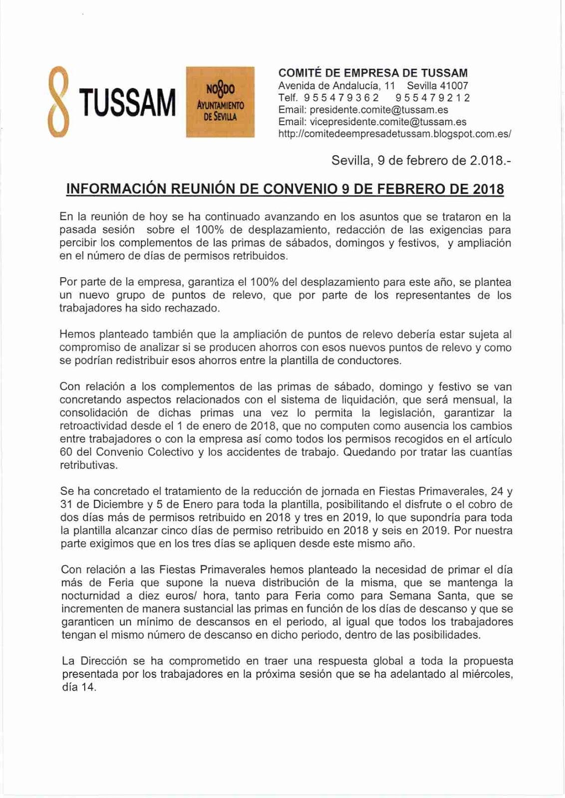 Comit de empresa tussam informaci n de convenio 9 2 18 for Fuera de convenio 2018