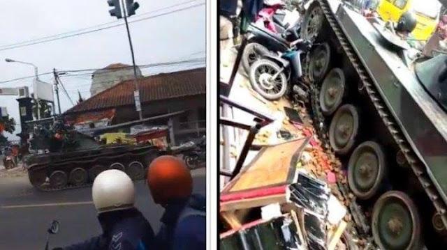 Viral Tank TNI Tabrak Motor dan Gerobak Kang Gorengan di Bandung Barat