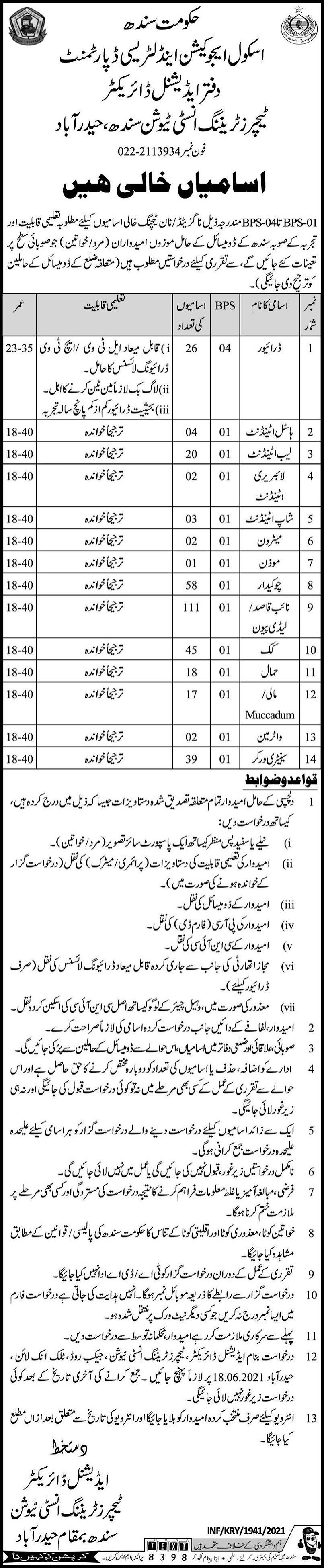 Teachers Training Institute Sindh School Education And Literacy Department Hyderabad Jobs 2021  330 Posts