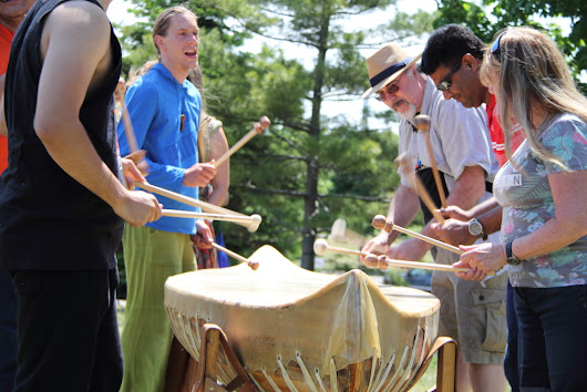 'Conundrum' a 16-foot rawhide-covered cedar strip canoe at Muhtadi Drum Festival