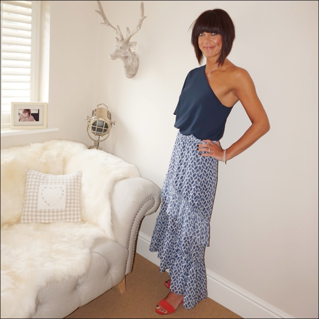my midlife fashion, tibi one shoulder top, h and m patterned blue and white maxi skirt, j crew woven wedge sandals