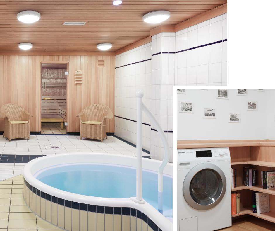 Der kleine Wellness Bereich und die Laundry im Derag Living Hotel Berlin