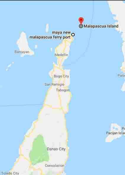 Bounty Island white beach cebu philippines 2018 map maya new malapascua ferry port