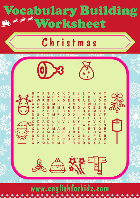 Christmas word search puzzle for ESL students