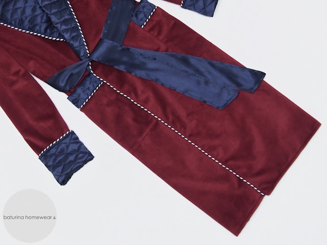 mens burgundy velvet robe dressing gown quilted full length traditional gentleman housecoat warm full length