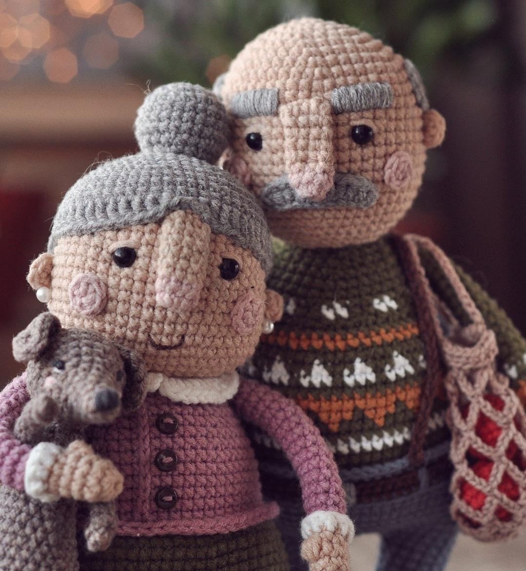 Описание вязания крючком кукольной пожилой семейной пары (12)