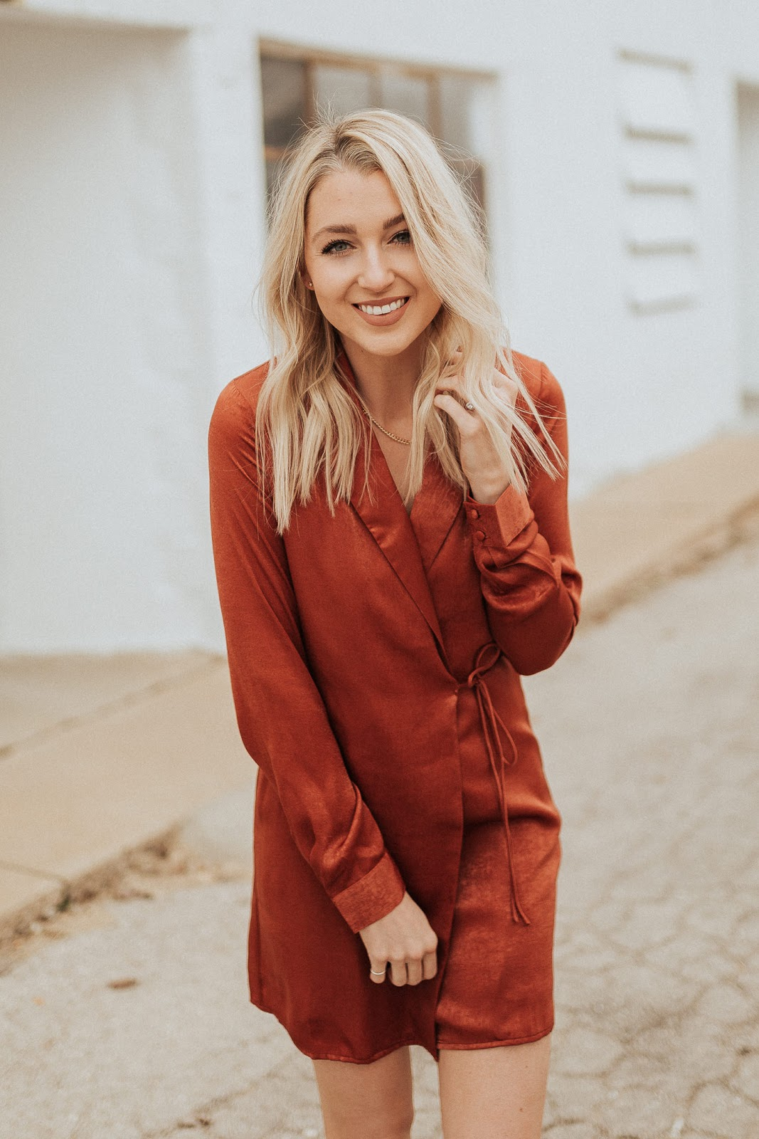 silky shift dress in burnt orange