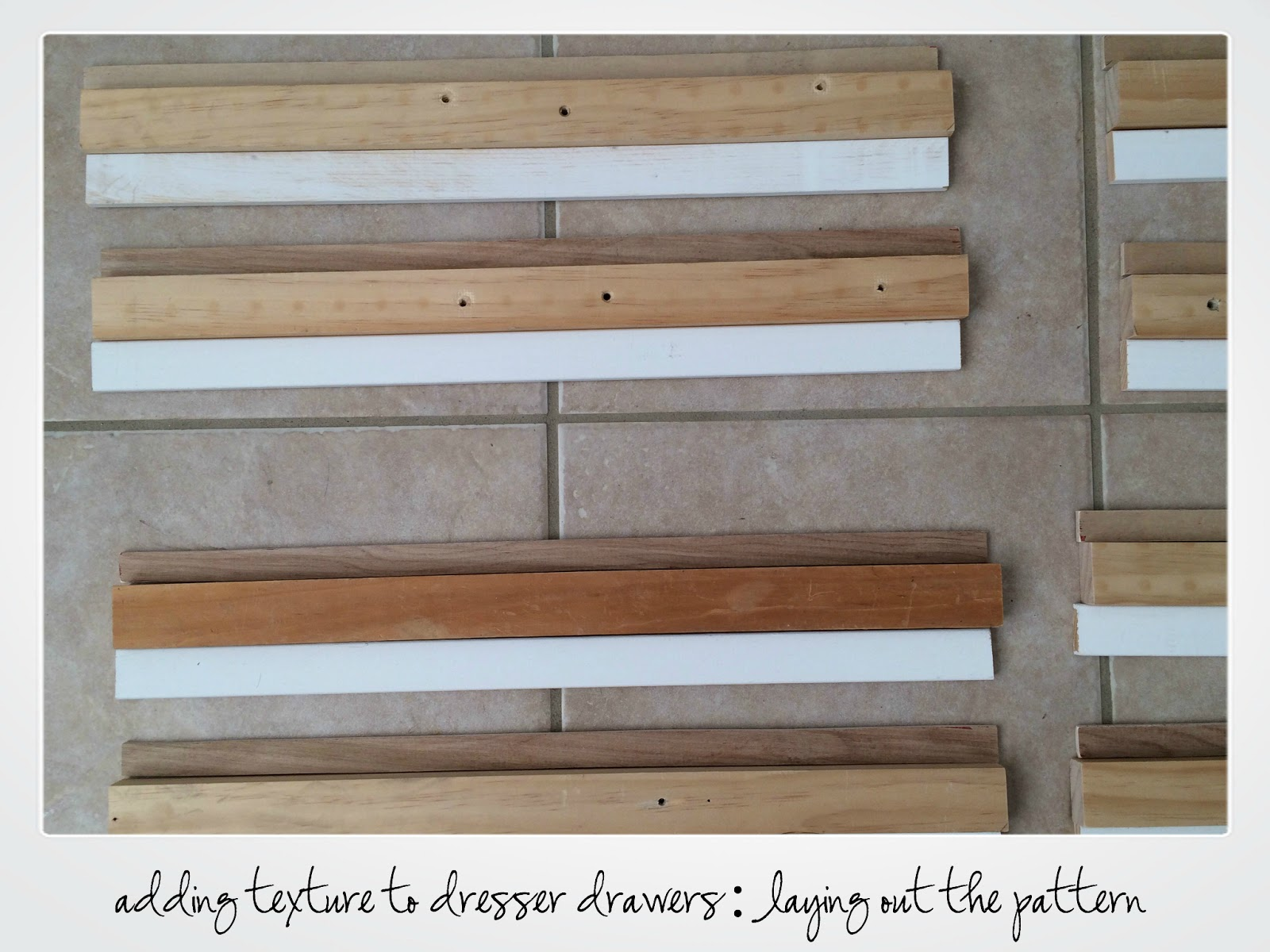 adding texture to dresser drawers, make a statement, stacked wood drawer fronts, how to lay out a pattern
