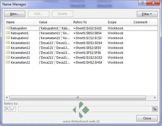 Nama Range untuk Sumber Dropdown List Bertingkat