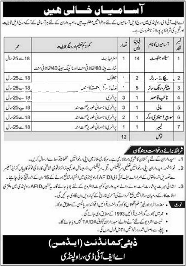 jobs in aifd cmh rawalpindi cantt 9 May 2017