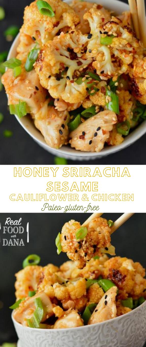 HONEY SRIRACHA SESAME CAULIFLOWER & CHICKEN #healthy #keto
