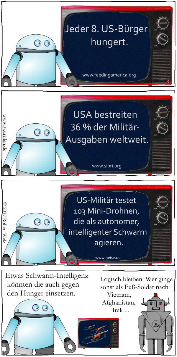 Hunger, USA, Militär, Roboter, Android, intelligente Drohnen, Schwarm-Intelligenz, Satire, Comic, Collage