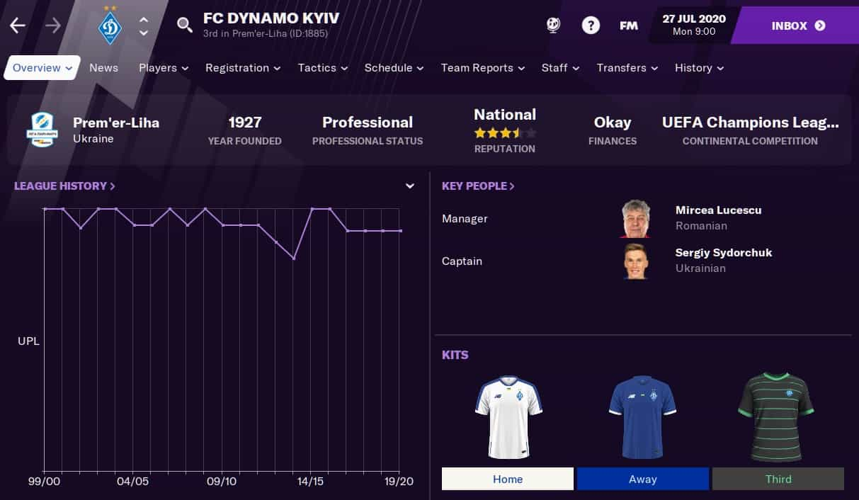 Dynamo Kyiv Football Manager 2021
