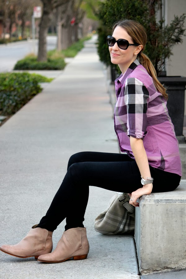 Burberry shirt, black jeans & ankle booties