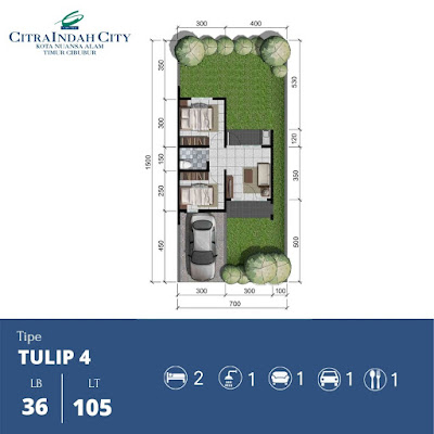 Denah Rumah Tulip 36 105 Citra Indah City