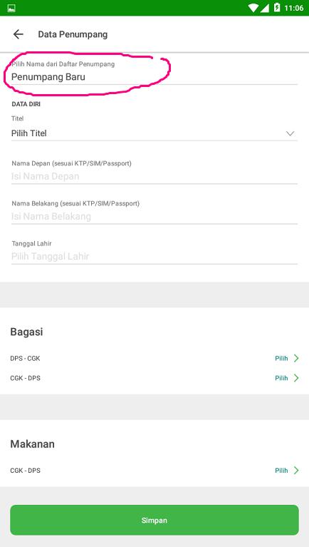 Mengisi Data Penumpang Peswat di Aplikasi Marketplace Tokopedia.