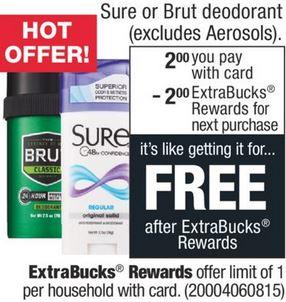 FREE Sure or Brut Deodorant CVS Deal 4/26-5/2