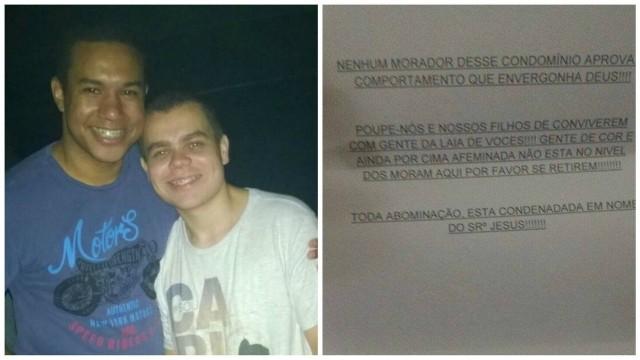 Casal recebe carta homofóbica e racista em condomínio: 'Gente de cor e afeminada'