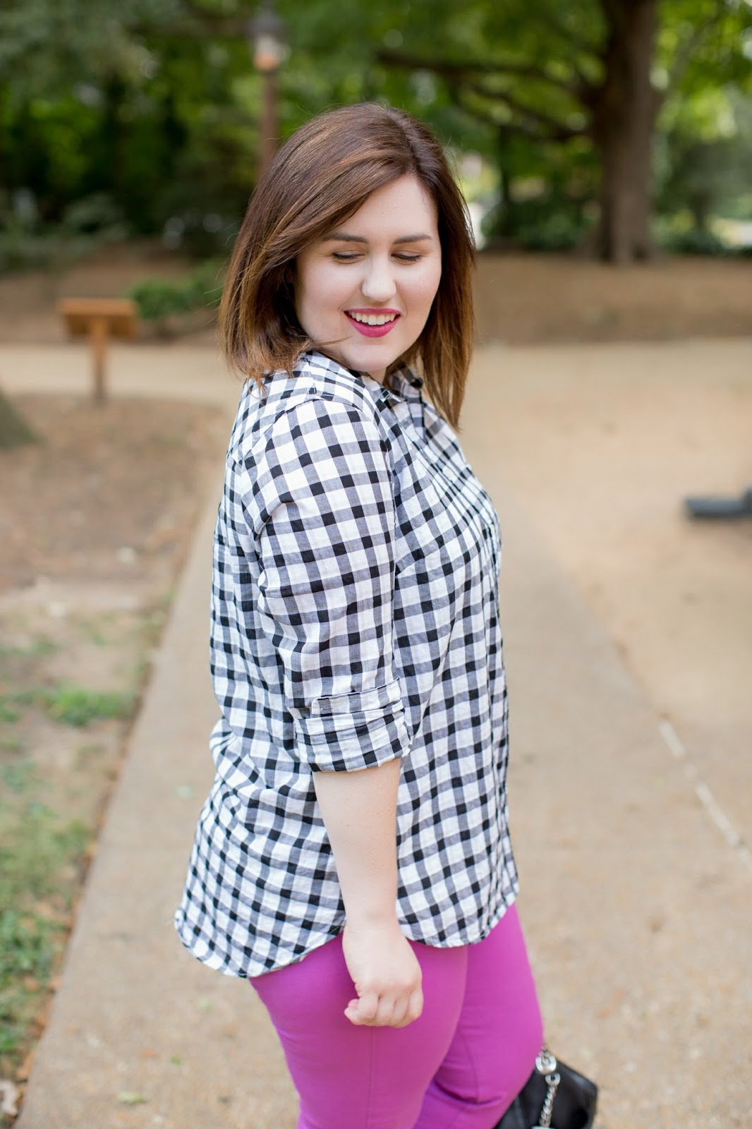 Rebecca Lately Black White Gingham Old Navy Razzleberry Pixie Pants Michael Kors Chandler