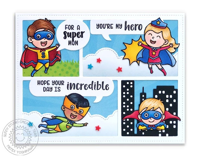 Sunny Studio Stamps: Super Duper Superhero Card for Mom's and Mother's Day (using Comic Strip Speech Bubbles dies, Cityscape Border die, & Fluffy Clouds Border dies)