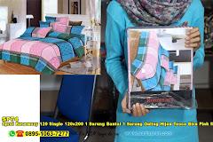 Sprei Rosemary 120 Single 120×200 1 Sarung Bantal 1 Sarung Guling Hijau Tosca Biru Pink Merah Jambu Garis Kotak Remaja Dewasa Katun CVC