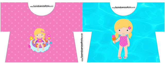 Tarjeta con forma de camiseta de Fiesta en la Piscina para Niña Rubia.