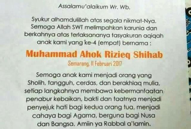 "Viral di Medsos, Anak Warga Semarang Diberi Nama ""Muhammad Ahok Rizieq Shihab"""