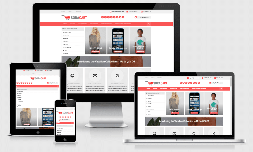 Sora Cart - Responsive Online Store Blogger Template