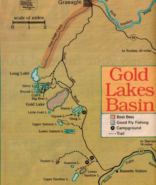 Gold Lakes Sardine Lake Fishing Map Fishing Report - Lakes in california map