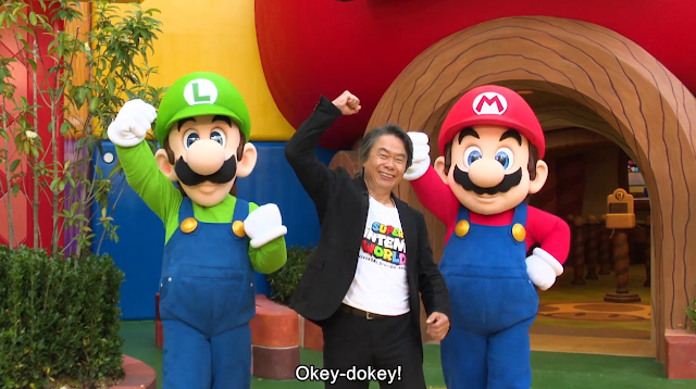 Super Nintendo World Direct Mario Luigi Shigeru Miyamoto photoshoot pose