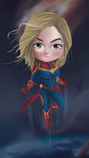 Captain Marvel Chibi Mobile HD Wallpaper