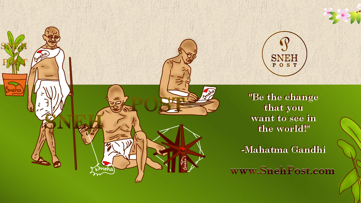 (Mahatma Gandhi Jayanti: Top 7 Glimpses of Celebration Events) Gandhi Ji in three poses: Gandhiji with his stick wearing dhoti and round spectacles on bald hairstyle; Mahatma Gandhi making thread with his charkha; Gandhi writing something on a paper while sitting in dhoti