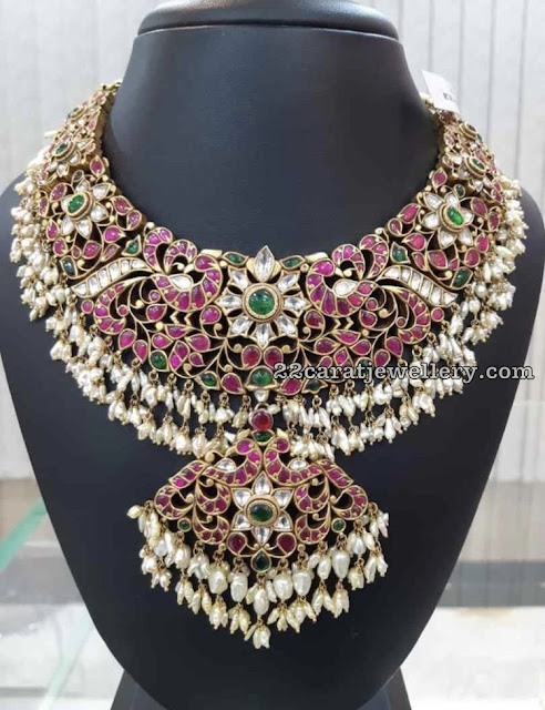 Peacock Kundan Bridal Set with Rice Pearls
